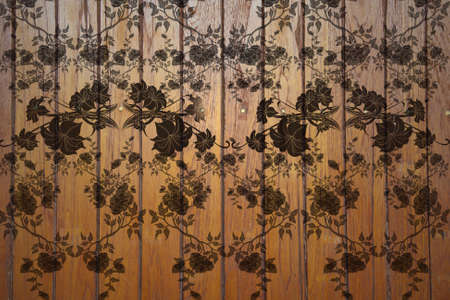 wood background with carving pattern  photo