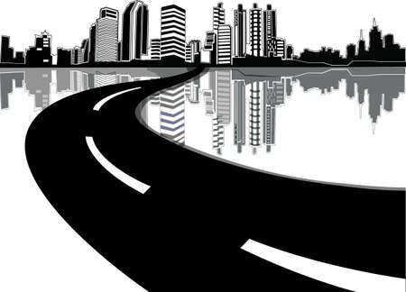 road design: Abstract illustration with city