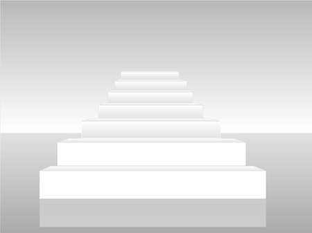 Collection of white 3d staircases Vector