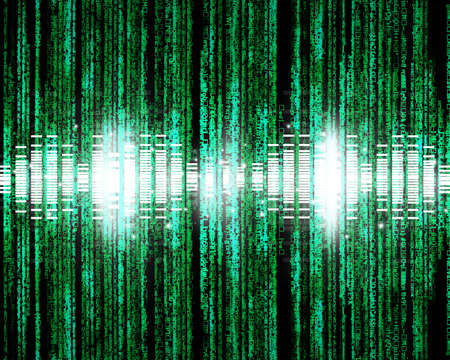Binary code, data steam, technology Music background Stock Photo