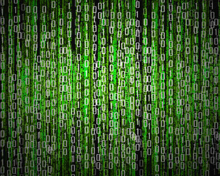 encoded: Binary code, data steam, technology Music background Stock Photo