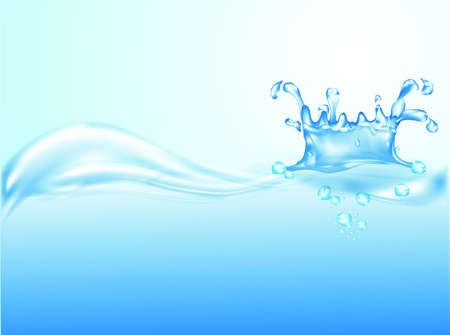 illustration of water splash on blue background
