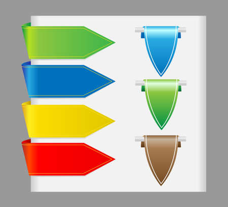 Set vector arrows in the form of paper stickers  Vector
