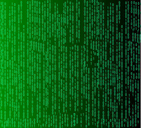 Binary code flowing over a green background  Digital illustration  Vector