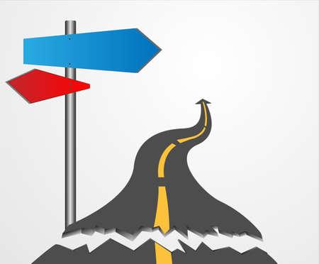 Road erosion damage alarming vector arrow label. Vector