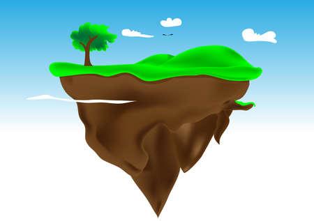 floating island: illustration floating island  Mesh used  Elements are layered separately in file