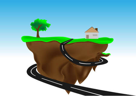 Floating island with small house illustration  Vector