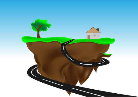 floating island: Floating island with small house illustration