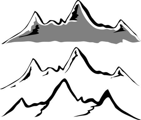 mountains and sky: Black mountain silhouettes  Illustration