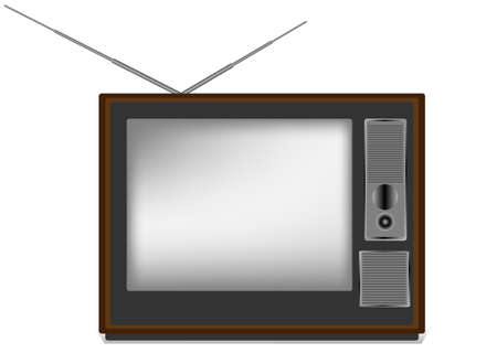 television aerial: Retro TV in the wooden case Illustration