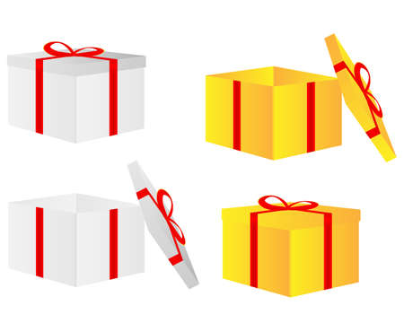 red gift box: Greeting card with gift box and copy space