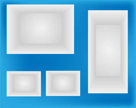 3d Empty shelves for exhibit in the wall Vector