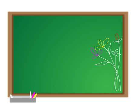 Flowers on the blackboard