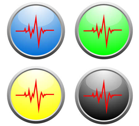 electrocardiogram: Shiny EKG buttons vector  Illustration