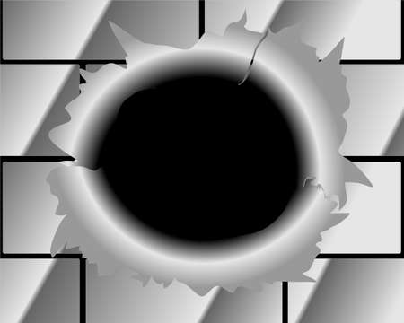 ricochet: Bullet Hole and Slash at metal abstract background for techno design  eps 10