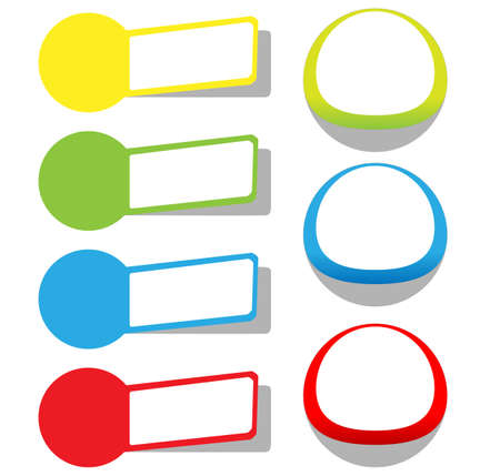 corner tab: Set of blank rectangle labels with rounded corners