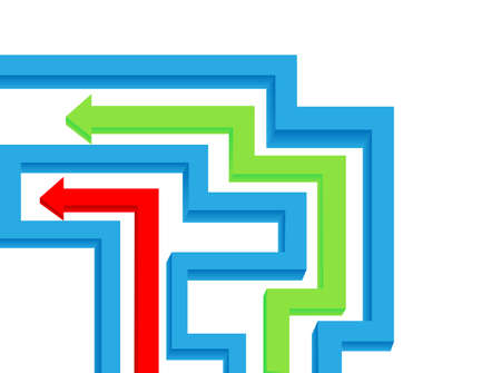 Maze and colored arrows are shown in the image   Vector