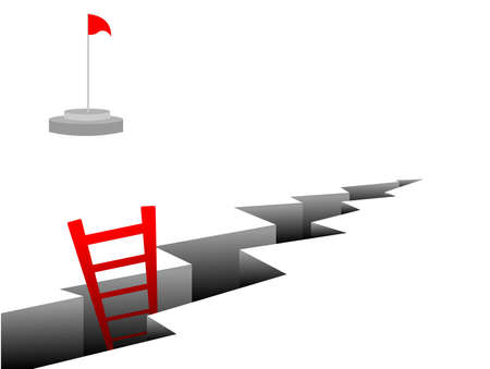 climbing ladder: Vector illustration of the stairs coming out of cracks in the ground