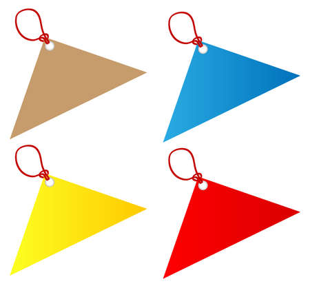 luggage tag: Blank red price tag label with a hanging string tied to the paper as a commercial