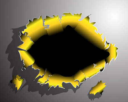 After gold, tearing through the metal Stock Vector - 14831004