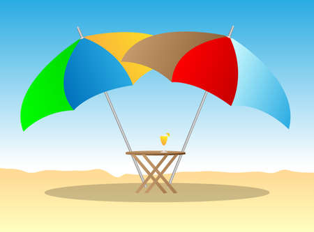 beach chairs under sunshade 3d illustration  Stock Vector - 14830996