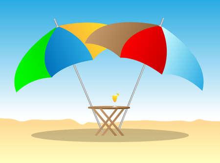 beach chairs under sunshade 3d illustration Stock Vector - 14830996