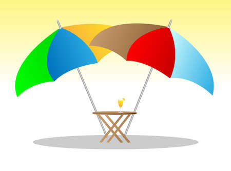 sun umbrella: beach chairs under sunshade 3d illustration  Illustration