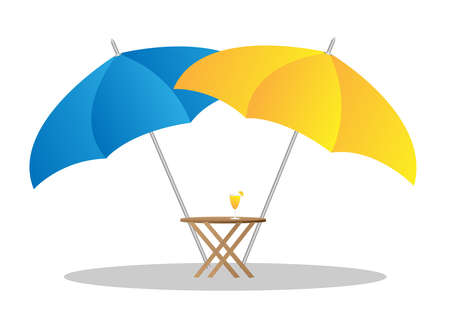 beach umbrella: beach chairs under sunshade 3d illustration  Illustration