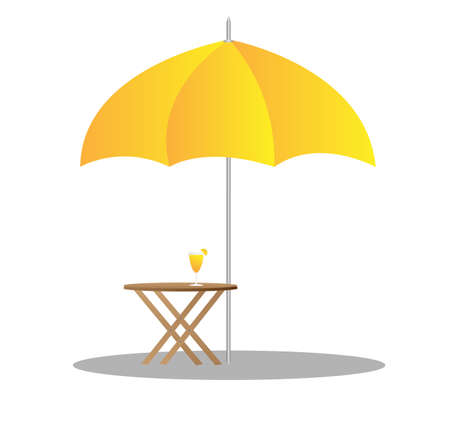 parasols: beach chairs under sunshade 3d illustration  Illustration