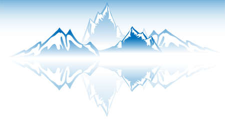 Mountain Water reflection  Vector