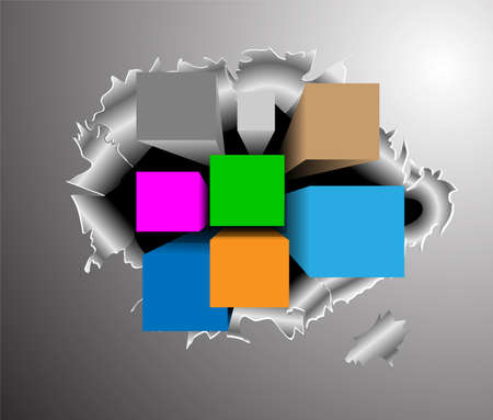 Abstract background with 3d cubes and squares  Vector