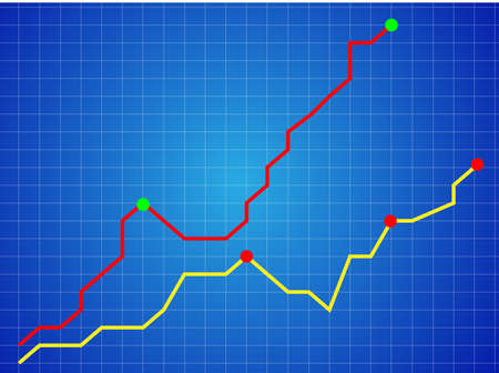 upward: illustration of arrow growing upward on graph background