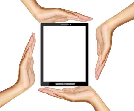 Hands holding and point on digital tablet Stock Photo - 14891317
