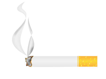 tobacco product: burning cigarette banner, vector