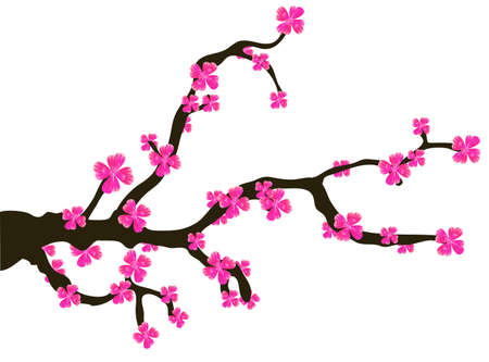 card with stylized cherry blossom and text  Illustration