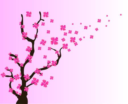 april beautiful: Sakura oriental style painting, cherry blossom in spring.