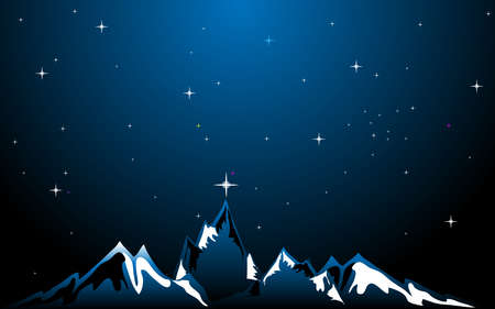 Beautiful night space landscape with silhouette mountains and stars  Vector