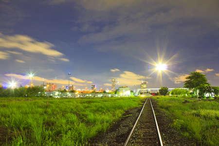 Amazing night city view tracks  photo