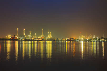 Oil refinery at twilight, Chao Phraya river