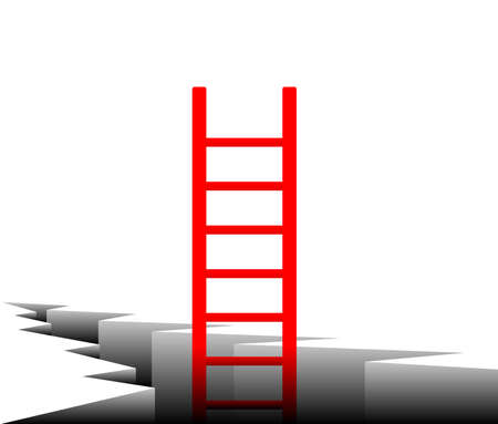 climbing ladder: illustration of the stairs coming out of cracks in the ground  Illustration