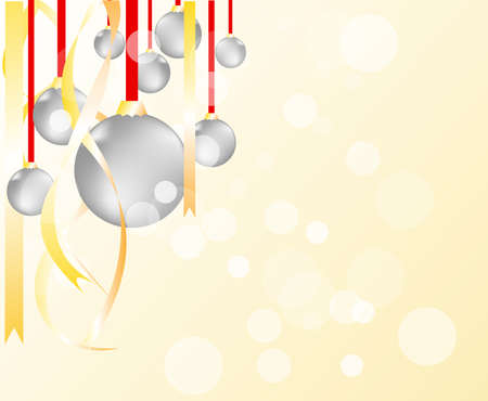 elegant Christmas background with gold and white evening balls  Vector