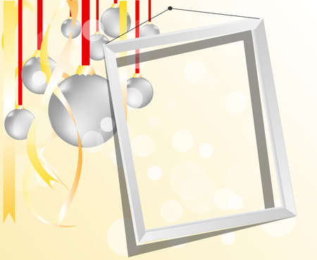 light backdrop with christmas balls and frame  Vector