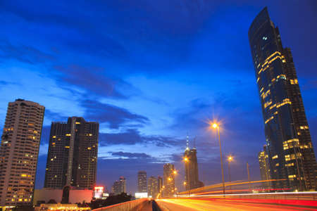 pu dong: car city night lights evening
