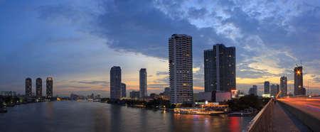 bangkok landmark: Panoramc picture Bangkok downtown skyscrapers on sunset evening light car.