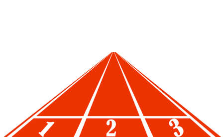 empezar a correr pista de goma estándar de color rojo