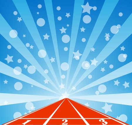 running track: Running track met regenwolk Stock Illustratie