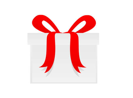 Gift box with red bow isolated on white  Vector illustration  Vector