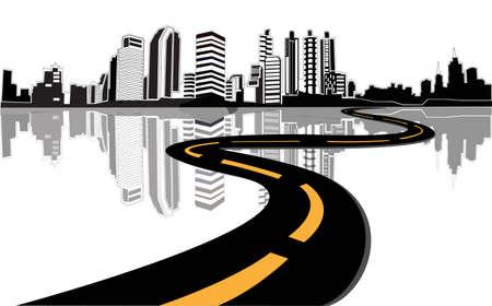 벡터 - 도로는 도시로 연결 일러스트