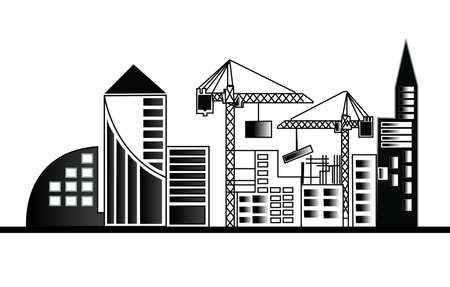 concrete blocks: illustration with industrial building and cranes