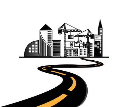 Vector - road leads to city  Stock Vector - 16621091